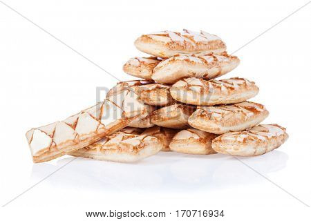 Sfogliatine, an Italian puff pastry, isolated on white background