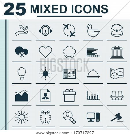Set Of 25 Universal Editable Icons. Can Be Used For Web, Mobile And App Design. Includes Elements Such As Segmented Bar Graph, Time Management, Wood Pot And More.