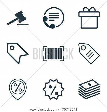 Set Of 9 Ecommerce Icons. Includes Discount Location, Identification Code, Gavel And Other Symbols. Beautiful Design Elements.