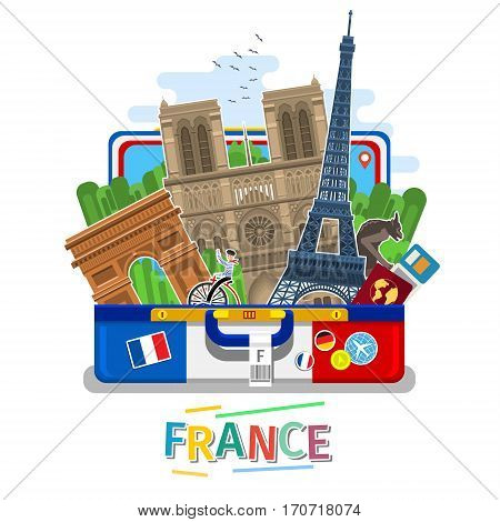 Concept of travel to France or studying French. French flag with landmarks in open suitcase. Tourism in France. Flat design, vector illustration