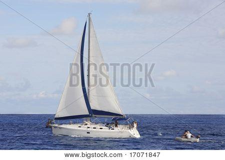 sailing boat cruising of the seychelles island