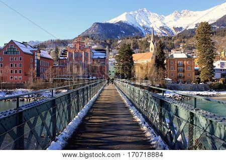 The bridge cross the river Inn in Innsbruck. South Tyrol, Austria.