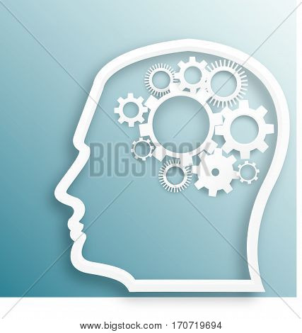 Vector illustration brainstorming process concept. Human head silhouette with gear brain. Head thinking.