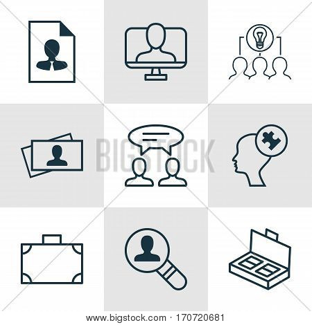 Set Of 9 Business Management Icons. Includes Online Identity, Open Vacancy, Cv And Other Symbols. Beautiful Design Elements.