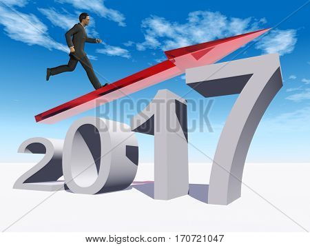 Conceptual 3D illustration human man businessman standing over red 2017 year symbol with an arrow on blue sky background for economy growth future finance progress success improvement profit designs