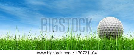 Green, fresh natural 3D illustration conceptual sport grass over sky background banner with golf ball at horizon for club sport business recreation play summer competition competition game fun design