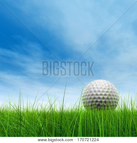 Green, fresh and natural 3D illustration conceptual sport grass over sky background with golf ball at horizon for club sport business recreation play, summer, competition, competition, game fun design
