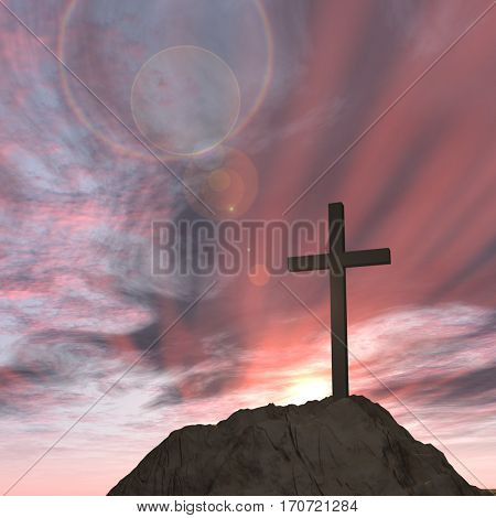 Concept or conceptual 3D illustration cross religion symbol shape on sunset sky, clouds background for God, Christ, Christianity, lige, religious, faith, holy, spiritual, Jesus, belief or resurection