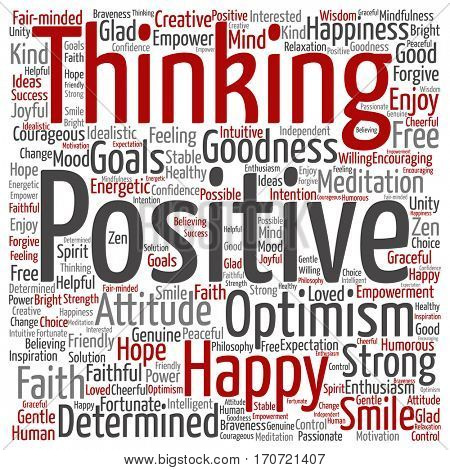 Concept or conceptual positive thinking, happy or strong attitude square word cloud isolated on background  metaphor to optimism, smile, faith, goals, courageous, goodness, happiness inspiration