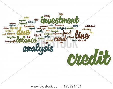 Concept or conceptual credit card line investment balance abstract word cloud isolated on background metaphor to money analysis, business fund balance, estate, mortgage, safe refinance solution