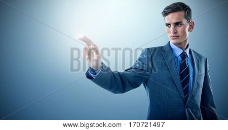Well dressed young businessman gesturing against purple vignette