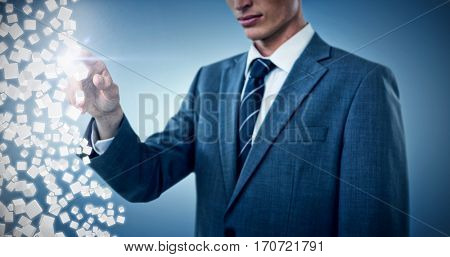 Midsection of elegant businessman pointing against purple vignette 3d