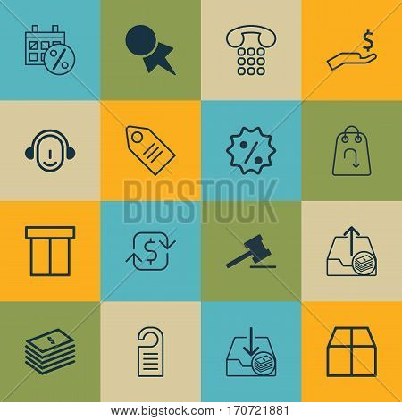 Set Of 16 Commerce Icons. Includes Refund, Discount Coupon, Employee And Other Symbols. Beautiful Design Elements.