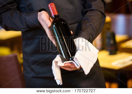 Mid section of waiter holding a bottle of red wine in restaurant