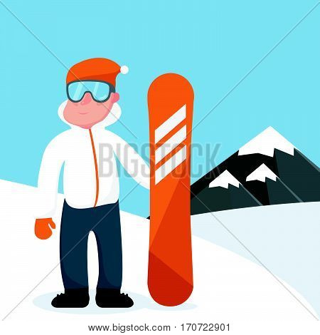 Cool vector snowboarder character standing full length on snowy mountain background. Flat design winter sport activity adult male person holding snowboard wearing ski clothing and equipment.