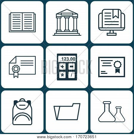 Set Of 9 Education Icons. Includes Document Case, Haversack, Certificate And Other Symbols. Beautiful Design Elements.