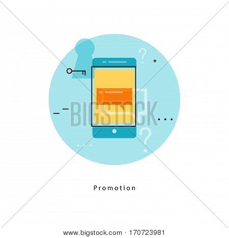 Digital marketing icon. E-mail advertising, communication, online promotion campaign, internet, web advertising flat line business vector illustration banner for mobile and web graphics