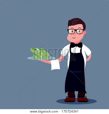 Businessman or manager promptly comes with a tray and money in hand. Joyful young man running in a business suit. Vector, illustration EPS10