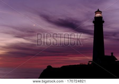 Pigeon Point Lighthouse at sunset, Pacific coast, built in 1871, California, USA