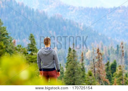Tourist man hiking in Sequoia National Park, looking at mountain scenic landscape. California, United States.