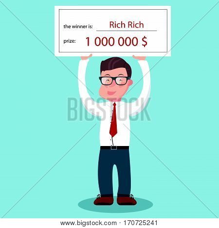 Man holding winning check for one million dollars. Business concept. Lottery and rich, cheque and money. Vector illustration.