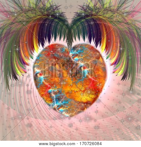 Bright multicolored fractal heart with wings on pink background. At the bottom left space for text.