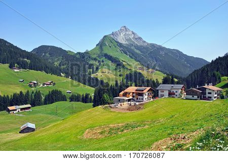 Town Mayrhofen among the mountains in the Ziller river valley (german: Zillertal) in state Tyrol. Lower Austria.