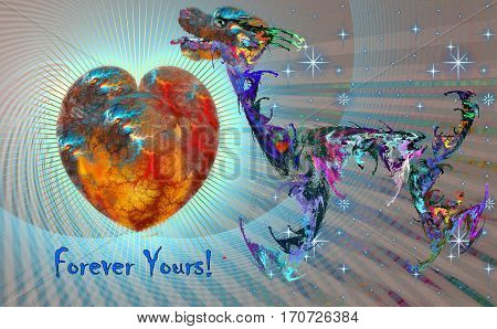 Fractal image of a faithful and loyal blue dog with the word Forever yours! Next to a blazing fire heart on a blue background. For Valentine's Day.