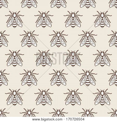 Vector Seamless Pastel Colored Pattern With Linear Style Bee. Organic Honey Background.