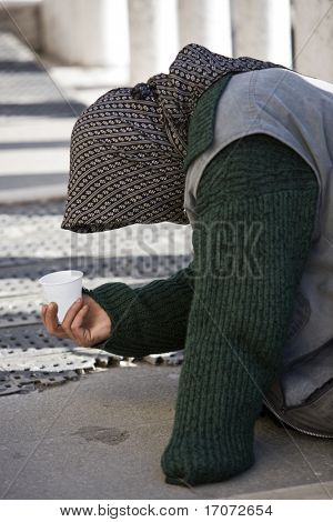 beggar in the beautiful city of venice in italy