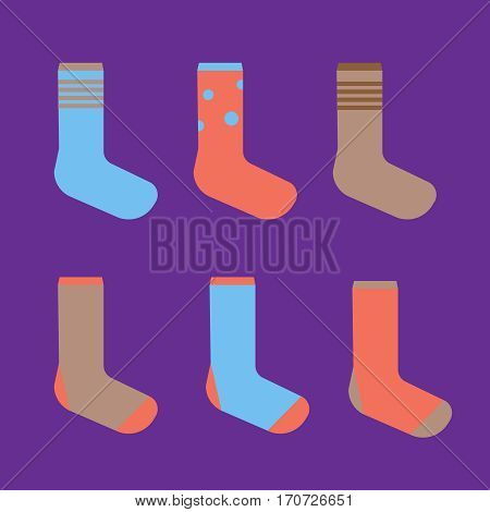 Colorful cute socks. illustration sock set. Socks vector