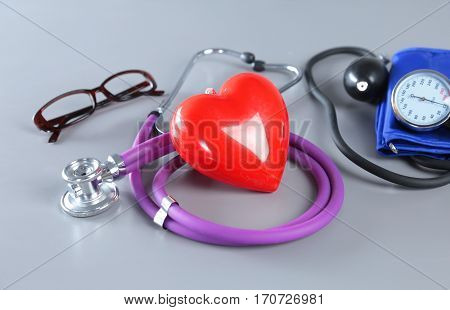 Medical instruments for ENT doctor on white.