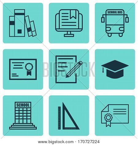 Set Of 9 Education Icons. Includes Library, Transport Vehicle, Certificate And Other Symbols. Beautiful Design Elements.
