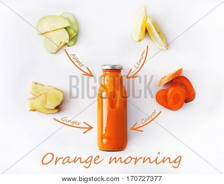 Detox cleanse drink concept, vegetable smoothie ingredients. Natural, organic healthy juice in bottle for weight loss diet or fasting day. Carrot, apple, ginger and lemon mix isolated on white