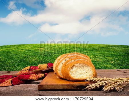 Bread on the table in the field