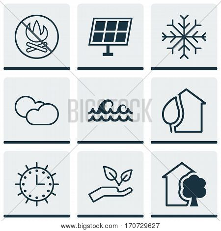 Set Of 9 Eco-Friendly Icons. Includes Home, Sun Power, Cloud Cumulus And Other Symbols. Beautiful Design Elements.