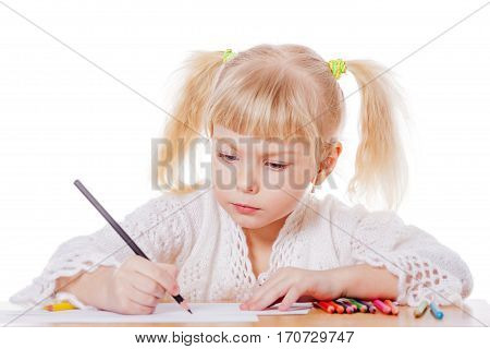 Blond Girl Drawing