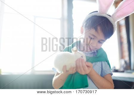 Handsome youngster playing with fluffy pet