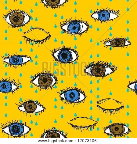 Blue and brown crying eye doodle pattern on a yellow background. Open and closed human eyes under rain seamless vector illustration