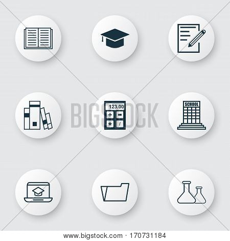 Set Of 9 Education Icons. Includes Document Case, Distance Learning, Electronic Tool And Other Symbols. Beautiful Design Elements.