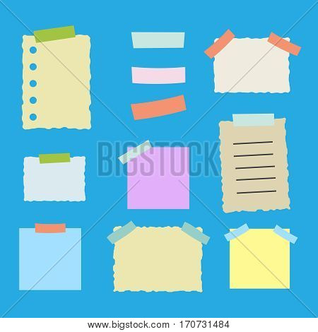 Colorful sticky paper note vector illustration set. Sticky paper vector