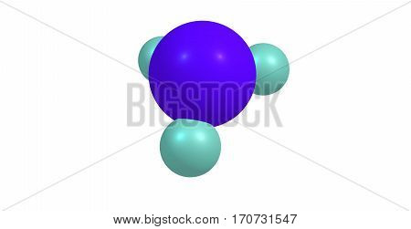 Stibine is a chemical compound with the formula SbH3. A pnictogen hydride this colourless gas is the principal covalent hydride of antimony and a heavy analogue of ammonia. 3d illustration
