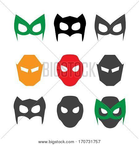 Super hero masks vector illustration set. Hero masks vector