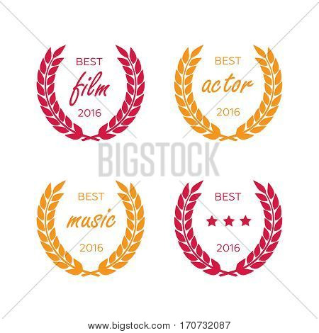 Set of awards for best. Black color film award wreaths isolated. Awards vector