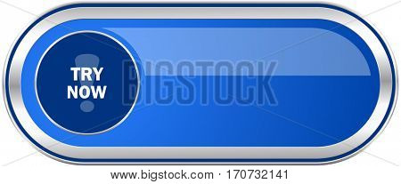 Try now long blue web and mobile apps banner isolated on white background.