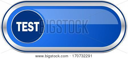 Test long blue web and mobile apps banner isolated on white background.