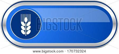 Grain long blue web and mobile apps banner isolated on white background.