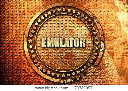 emulator, 3D rendering, text on metal