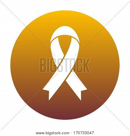 Black awareness ribbon sign. White icon in circle with golden gradient as background. Isolated.