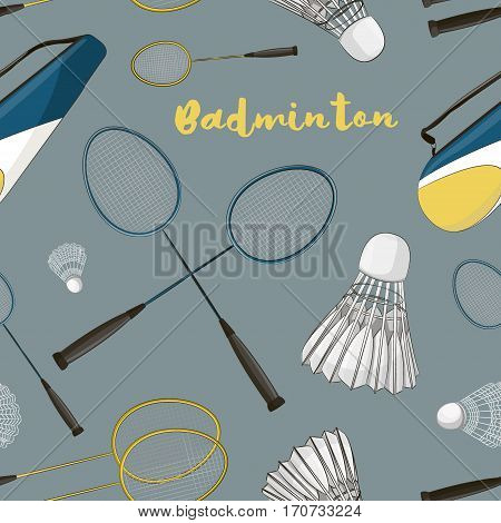 Badminton labels and icons set pattern. Vector illustration, EPS 10
